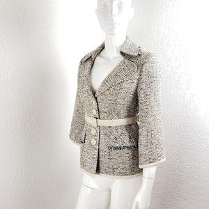 Nanette Lepore Tweed Blazer Boucle Belted Jacket